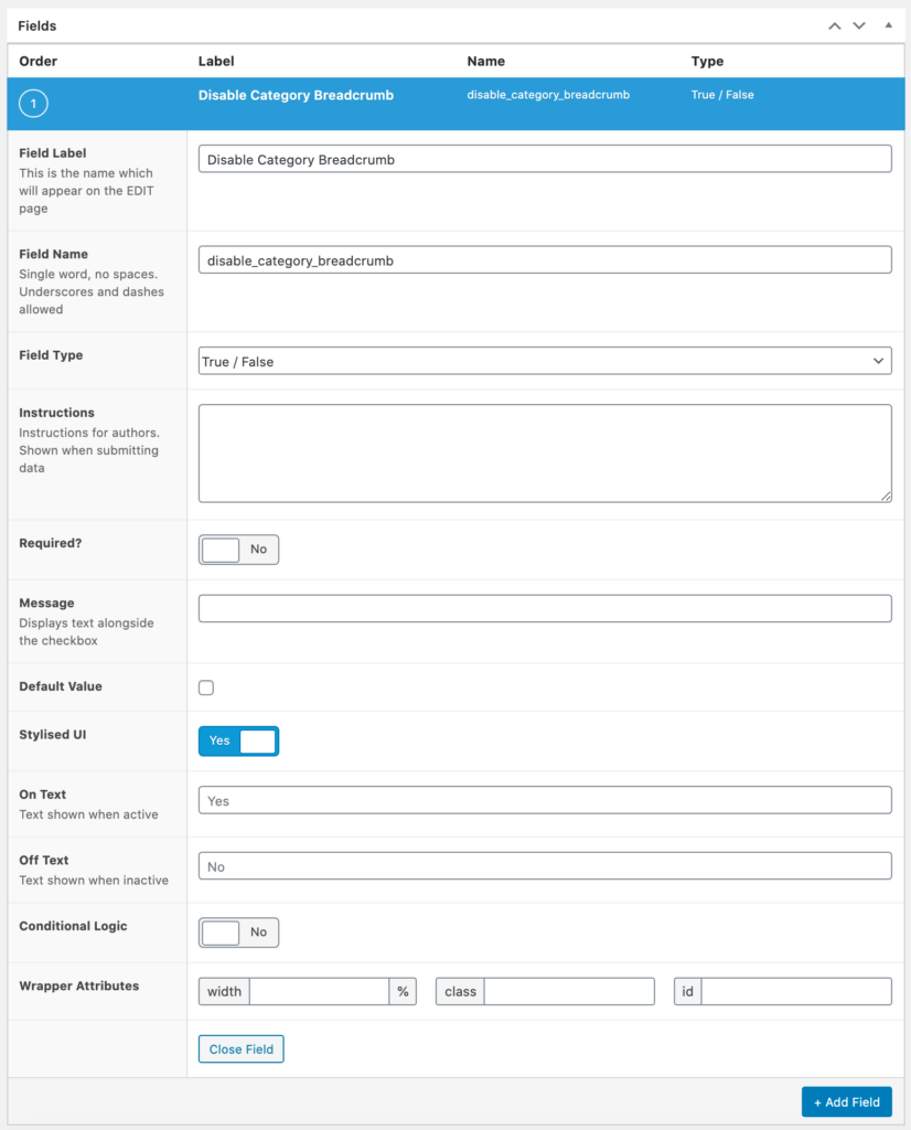 Create a true/false field to disable categories